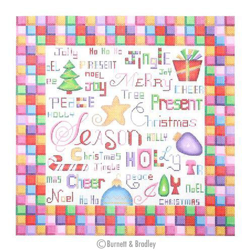 BB 0399 - Colorful Christmas Words Pillow