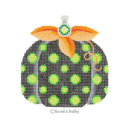 BB 0554 - Pumpkin - Black with Green Polka Dots