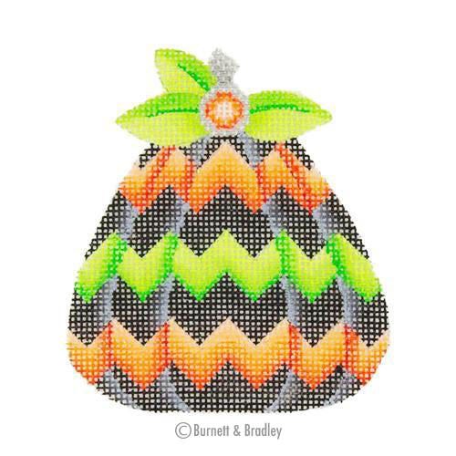BB 0556 - Pumpkin - Black, Orange, & Green Chevron