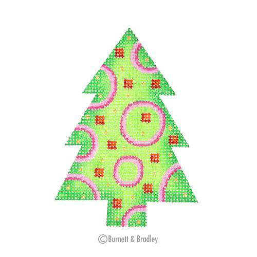 BB 0634 - Mini Tree - Green with Pink Circles .