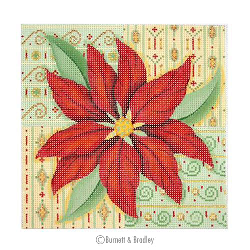 BB 0654 - Christmas Pillow - Poinsettia on Patterned Background