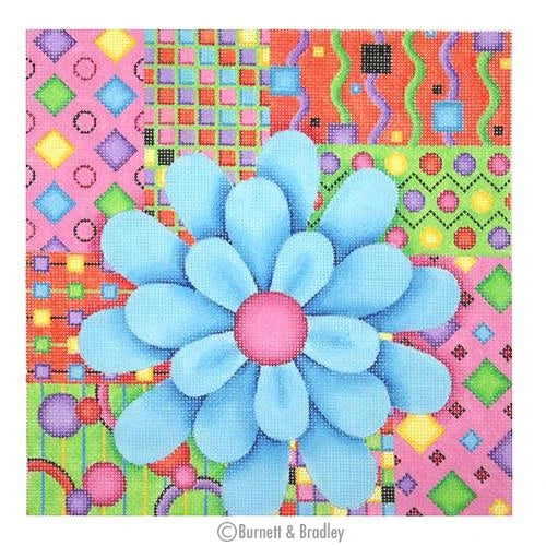 BB 0680 - Pillow - Blue Flower on Patchwork Background
