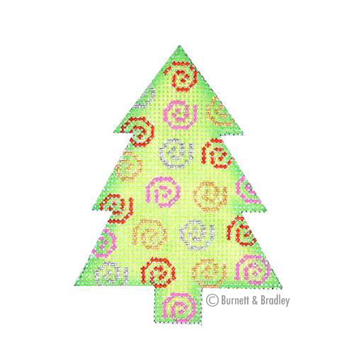BB 0757 - Mini Tree - Green with Multicolor Swirls