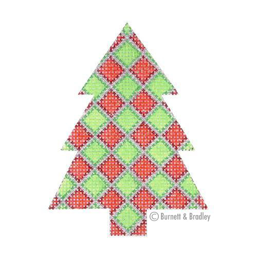 BB 0759 - Mini Tree - Red & Green Diamond Pattern