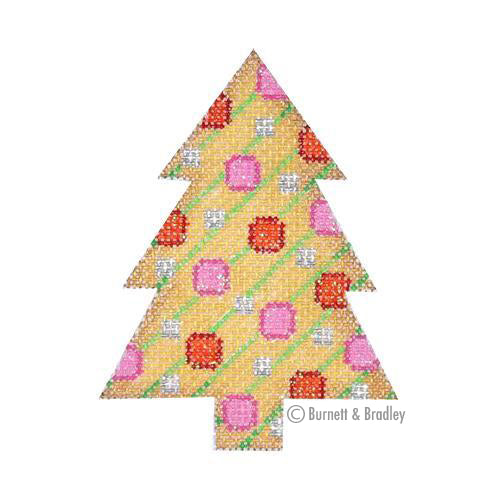BB 0761 - Mini Tree - Gold with Diagonal Stripes & Circles