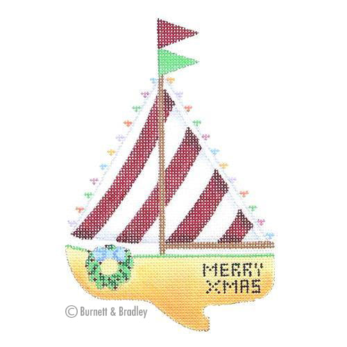 BB 0775 - Christmas by the Sea - Merry Xmas Sailboat