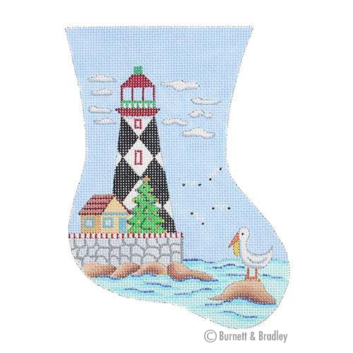 BB 0879 - Mini Stocking - Black & White Diamond Lighthouse