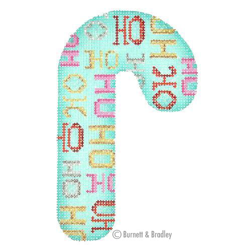 BB 0917 - Candy Cane - Aqua with Ho Ho Ho