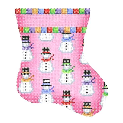 SOLD OUT BB 1131 - Mini Stocking - Pink with Snowmen