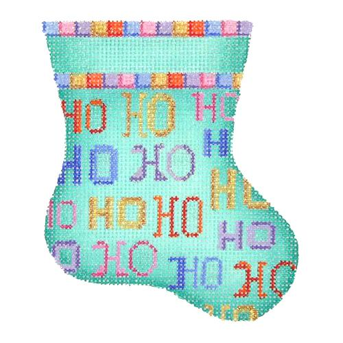BB 1132 - Mini Stocking - Aqua with Ho Ho Ho