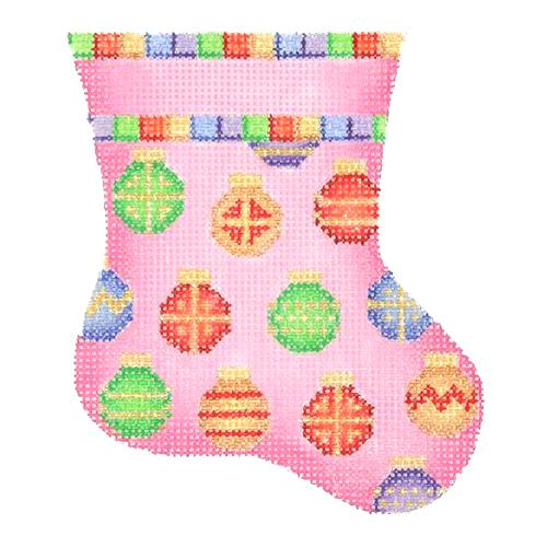 BB 1135 - Mini Stocking - Pink with Ornaments