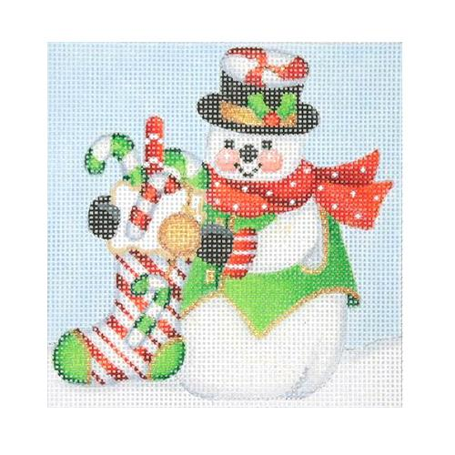 BB 1148 - Snowman Square - Candy Cane Stocking