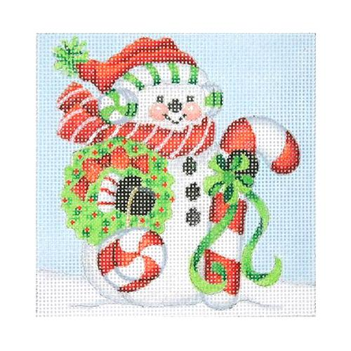 BB 1151 - Snowman Square - Large Candy Cane & Peppermint