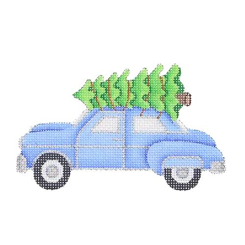 BB 1474 - Blue Car with Tree Ornament