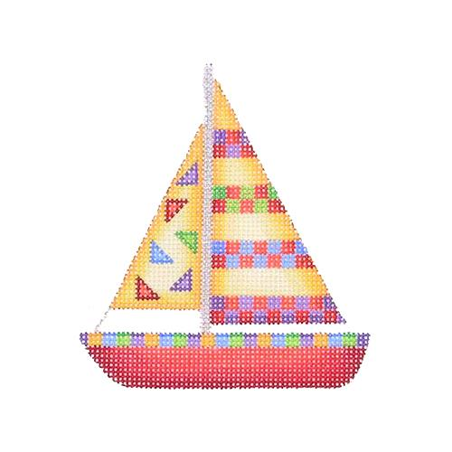 BB 1634 - By the Sea - Yellow & Red Sailboat