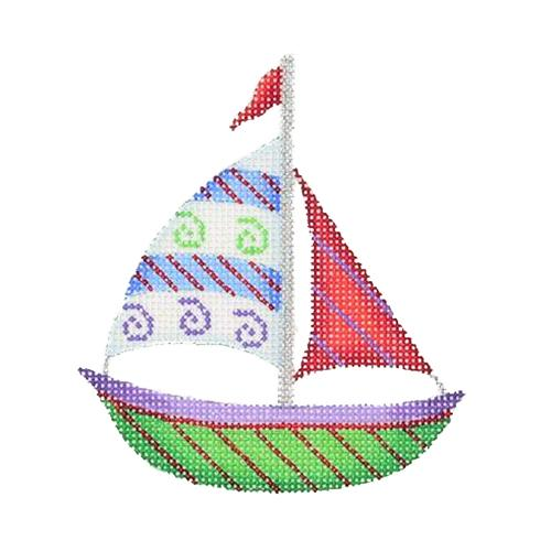 BB 1635 - By the Sea - Green, Red & Blue Sailboat