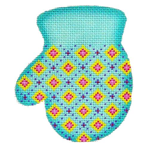 BB 2093 - Mitten - Diamond Pattern on Aqua (L)