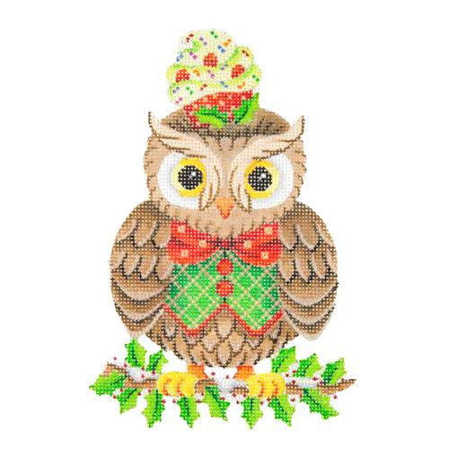 BB 2300 - Owl on Holly Branch with Cupcake