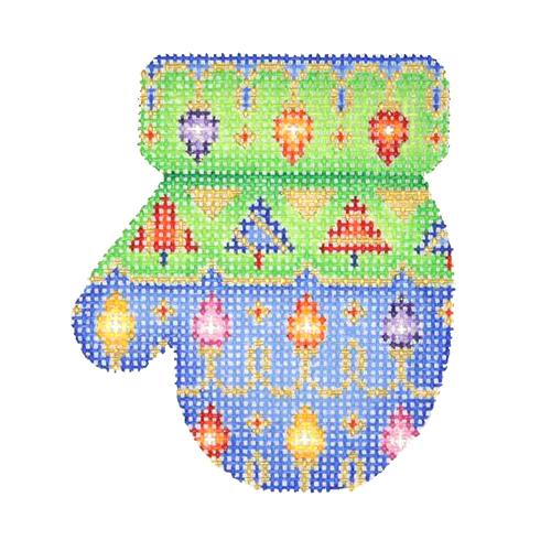 BB 2666 - Mitten - Blue & Green with Lights & Trees (L)