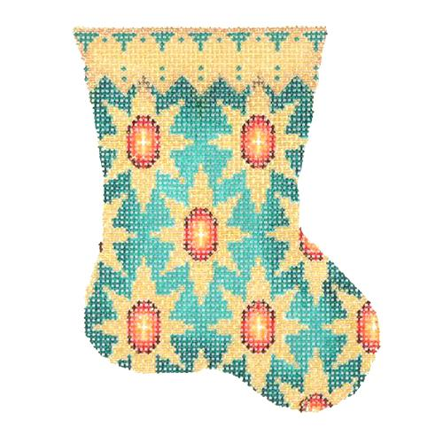BB 2705 - Mini Stocking - Aqua with Red Jewels