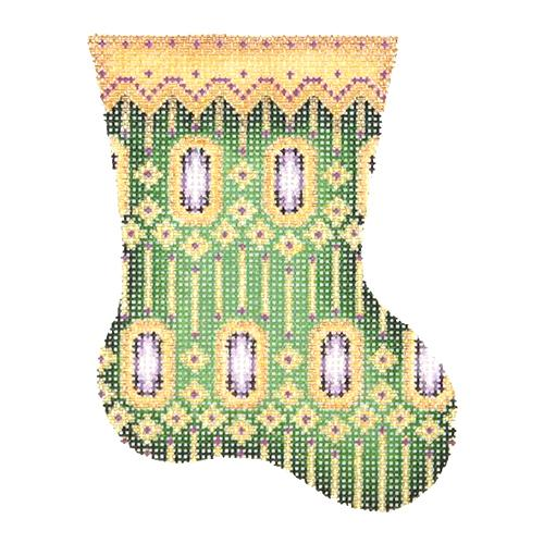 BB 2709 - Mini Stocking - Green with Purple Jewels