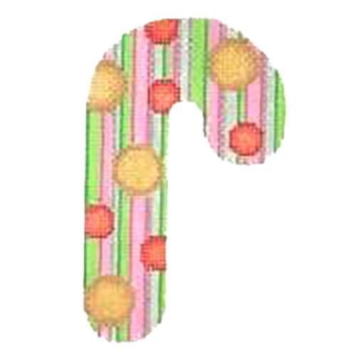 BB 2723 - Jeweled Candy Cane - Green, Pink & White Stripes