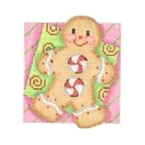 BB 2735 - Double Patterned Squares Ornament - Gingerbread Man