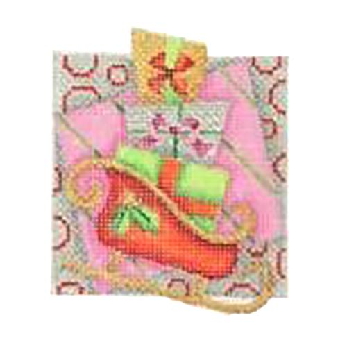 BB 2736 - Double Patterned Squares Ornament - Sleigh