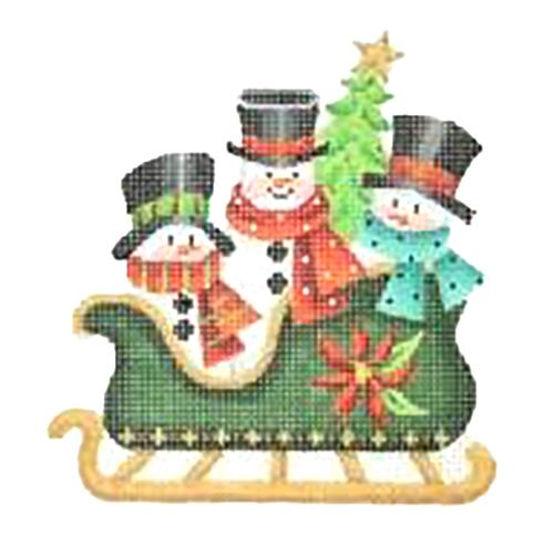 BB 2756 - Dark Green Sleigh - Three Snowmen