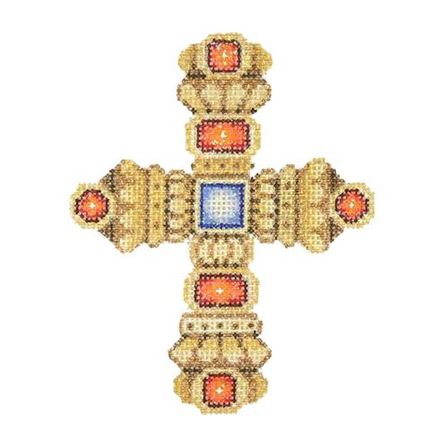BB 2872 - Cross - Gold with Red & Blue Jewels