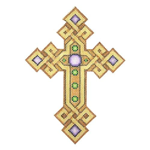 BB 2876 - Cross - Gold & Copper with Purple & Green Jewels
