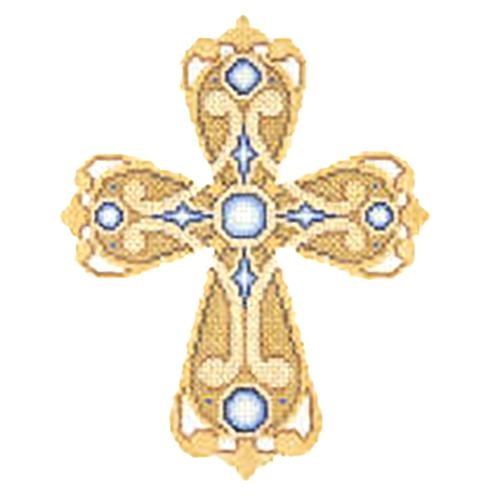 BB 2882 - Cross - Gold & Bronze with Blue Jewels