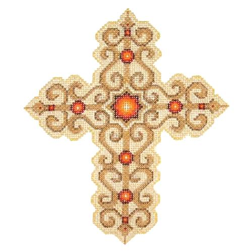 BB 2886 - Cross - Gold with Red Jewels
