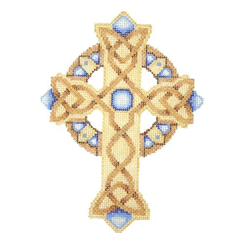 BB 2888 - Cross - Gold & Copper with Blue Jewels