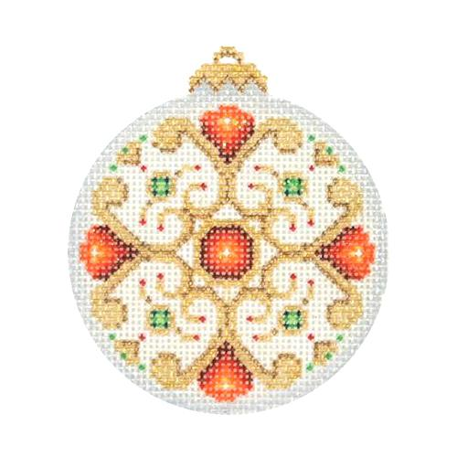 BB 2892 - Jeweled Christmas Ball - Pearl & Gold with Red Jewels