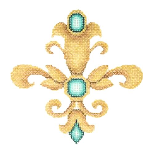 BB 2937 - Fleur de lis - Gold with Aqua Jewels