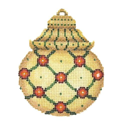 BB 2983 - Jeweled Christmas Ball - Gold & Green with Red Jewels