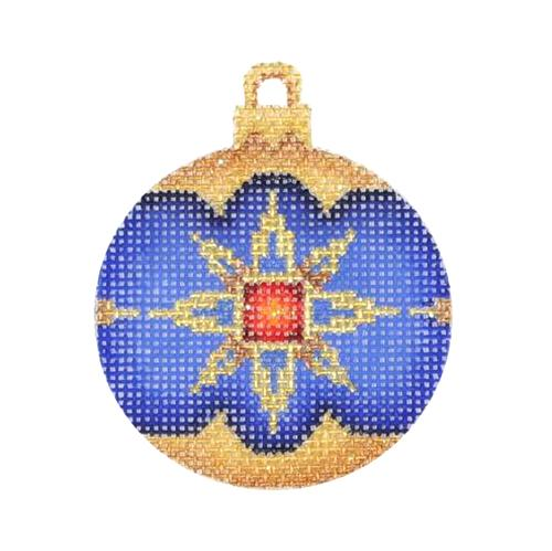 BB 3011 - Mini Christmas Ball - Blue, Gold & Red Pattern