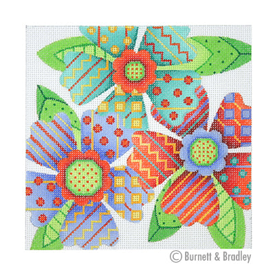 BB 3085 - Patterned Florals - Red, Blue & Aqua Cluster