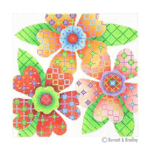 BB 3089 - Patterned Florals - Red, Light Pink & Orange Cluster