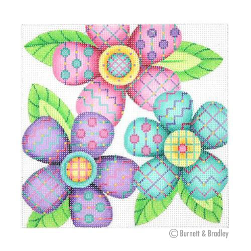 BB 3093 - Patterned Florals - Purple, Aqua & Pink Cluster