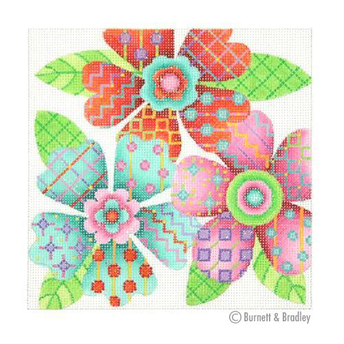 BB 3099 - Patterned Florals - Red, Pink & Aqua Cluster