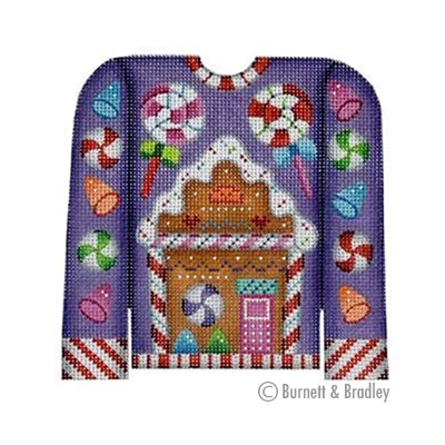 BB 3101 - Christmas Sweater - Gingerbread House on Purple