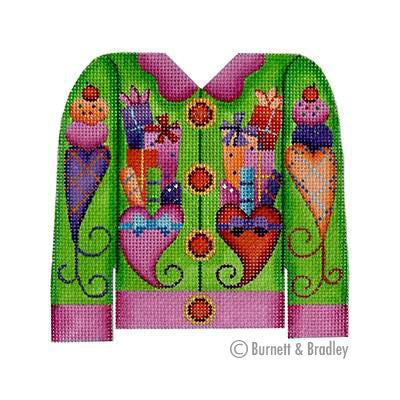 BB 3103 - Christmas Cardigan - Packages on Green