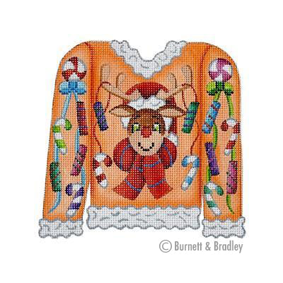 BB 3107 - Christmas Sweater - Rudolph & Candy on Orange
