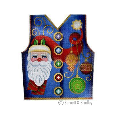 BB 3108 - Christmas Vest - Santa & Ornaments on Blue