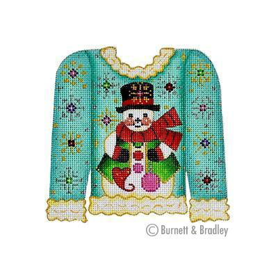 BB 3110 - Christmas Sweater - Snowman on Turquoise