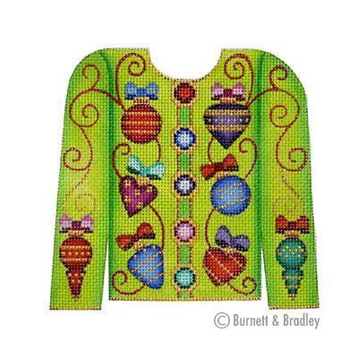 BB 3112 - Christmas Cardigan - Ornaments on Lime Green