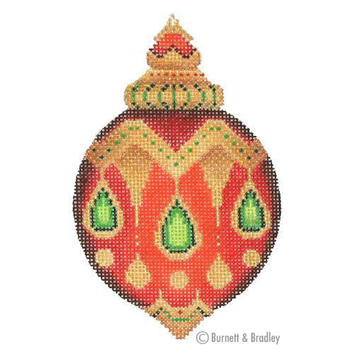 BB 3125 - Jeweled Christmas Ball - Red with Green Jewels