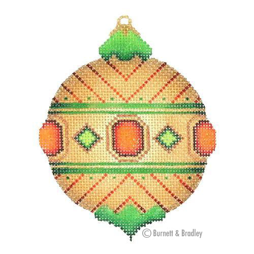 BB 3126 - Jeweled Christmas Ball - Gold with Red & Green Jewels